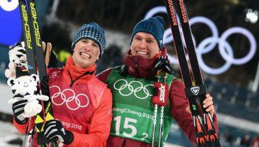 Российские лыжники пришли к финишу вторыми в командном спринте