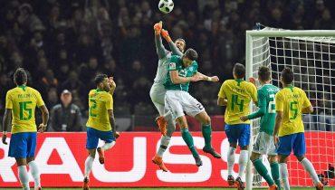 Гол Габриэла Жезуса решил исход игры между Германией и Бразилией, а Англия и Италия разошлись миром в Лондоне