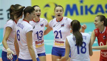 Российские волейболистки выиграли третий матч на ЧМ-2018