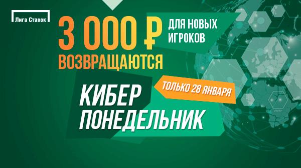Акция БК «Лига Ставок»: получи три фрибета по 1000 ₽ за регистрацию и первые ставки