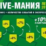 Акция БК «Лига Ставок»: до 10% от выигрышей за экспрессы
